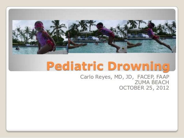 Pediatric Drowning    Carlo Reyes, MD, JD, FACEP, FAAP                        ZUMA BEACH                  OCTOBER 25, 2012