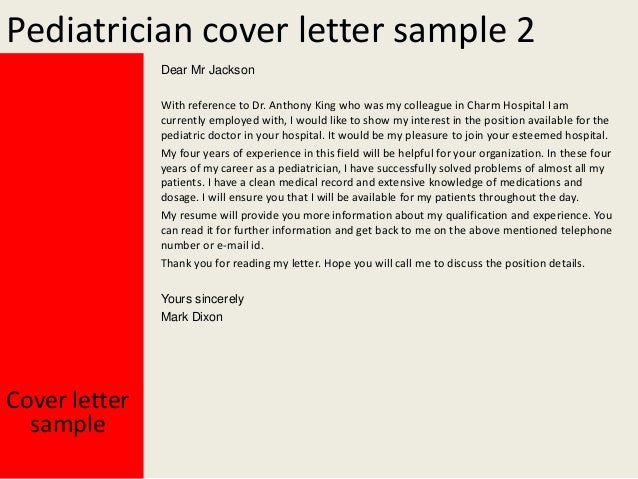 pediatrician cover letter