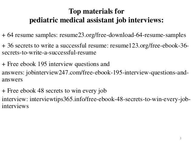 2 3 Top Materials For Pediatric Medical Assistant Job Interviews 64 Resume Samples