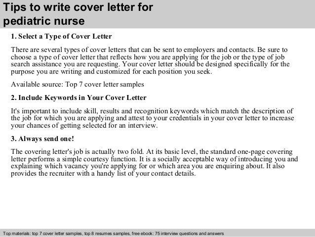 Pediatric Nursing Cover Letter