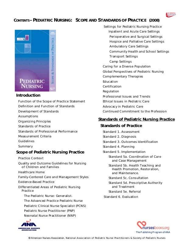 Pediatric nursing scopeandstandardstoc