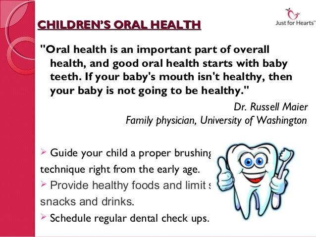 """CHILDREN'S ORAL HEALTH""""Oral health is an important part of overall health, and good oral health starts with baby teeth. If..."""