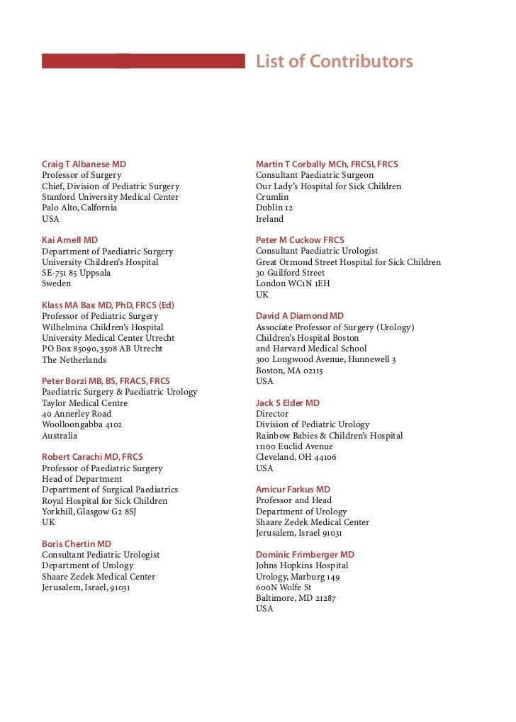 List of ContributorsX    Takao Fujimoto MD, PhD                           Vincenzo Jasonni MD    Director of Pediatric Sur...