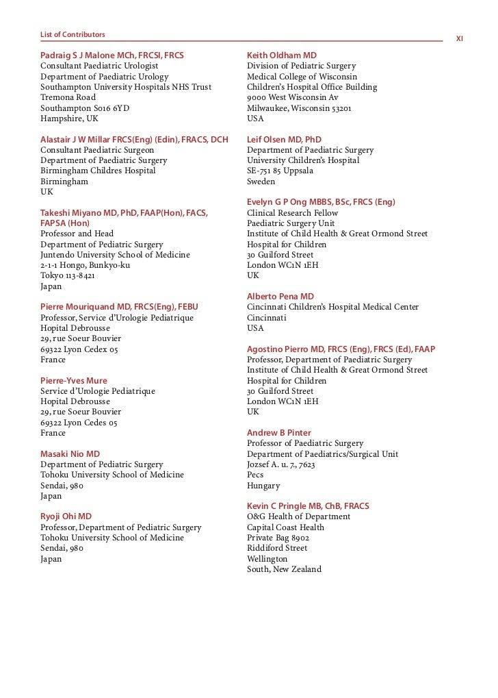 List of ContributorsXII      Prem Puri MS, FRCS, FRCS (Ed), FACS           Robert C Shamberger MD      Consultant Paediatr...