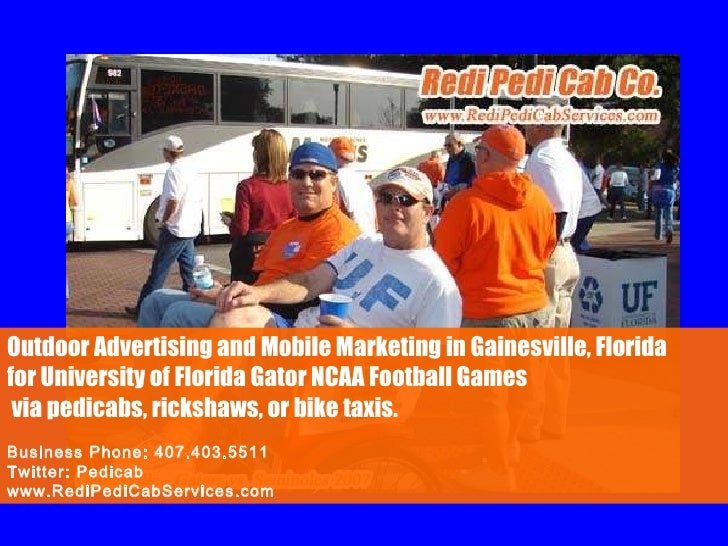 Outdoor Advertising and Mobile Marketing in Gainesville, Florida  for University of Florida Gator NCAA Football Games via ...