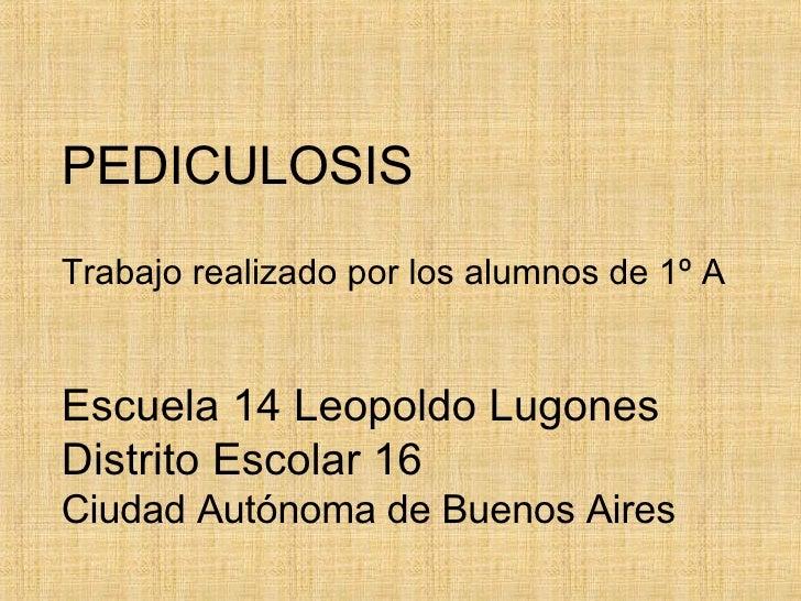 PEDICULOSIS Trabajo realizado por los alumnos de 1º A Escuela 14 Leopoldo Lugones Distrito Escolar 16 Ciudad Autónoma de B...