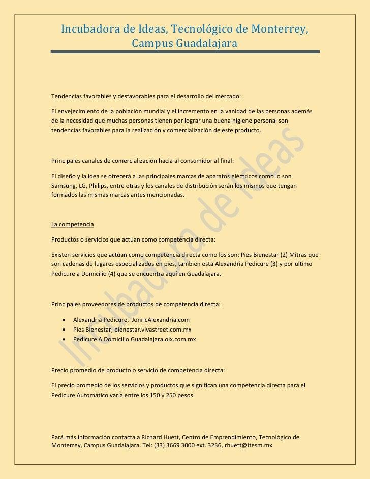 Incubadora de Ideas, Tecnológico de Monterrey,                Campus Guadalajara    Tendencias favorables y desfavorables ...