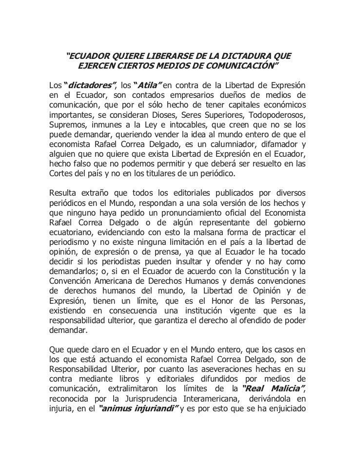 """""""ECUADOR QUIERE LIBERARSE DE LA DICTADURA QUE       EJERCEN CIERTOS MEDIOS DE COMUNICACIÓN""""Los """"dictadores"""", los """"Atila"""" e..."""