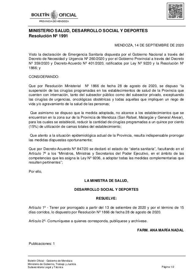 MINISTERIO SALUD, DESARROLLO SOCIAL Y DEPORTES Resolución Nº 1991 MENDOZA, 14 DE SEPTIEMBRE DE 2020 Visto la declaración d...