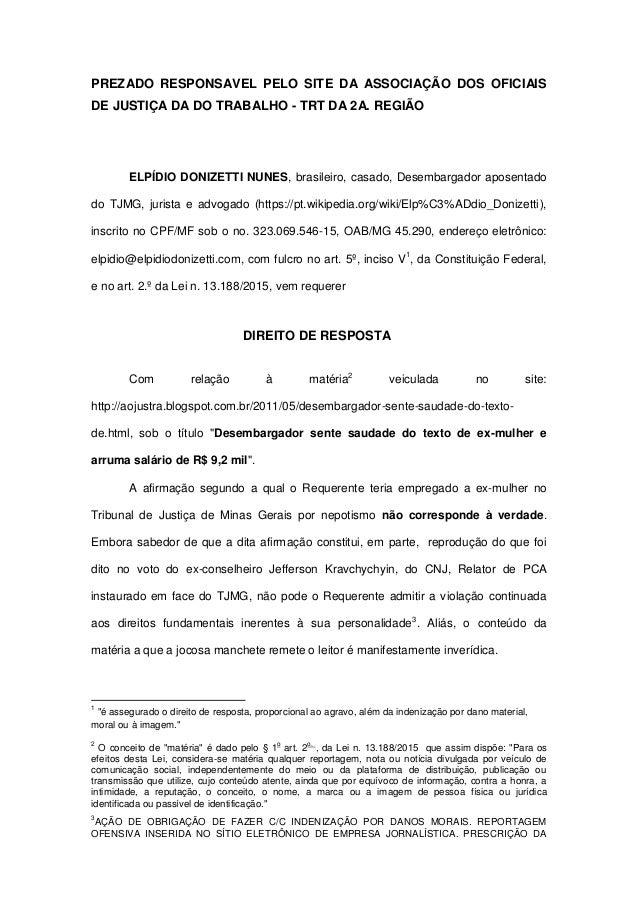 PREZADO RESPONSAVEL PELO SITE DA ASSOCIAÇÃO DOS OFICIAIS DE JUSTIÇA DA DO TRABALHO - TRT DA 2A. REGIÃO ELPÍDIO DONIZETTI N...