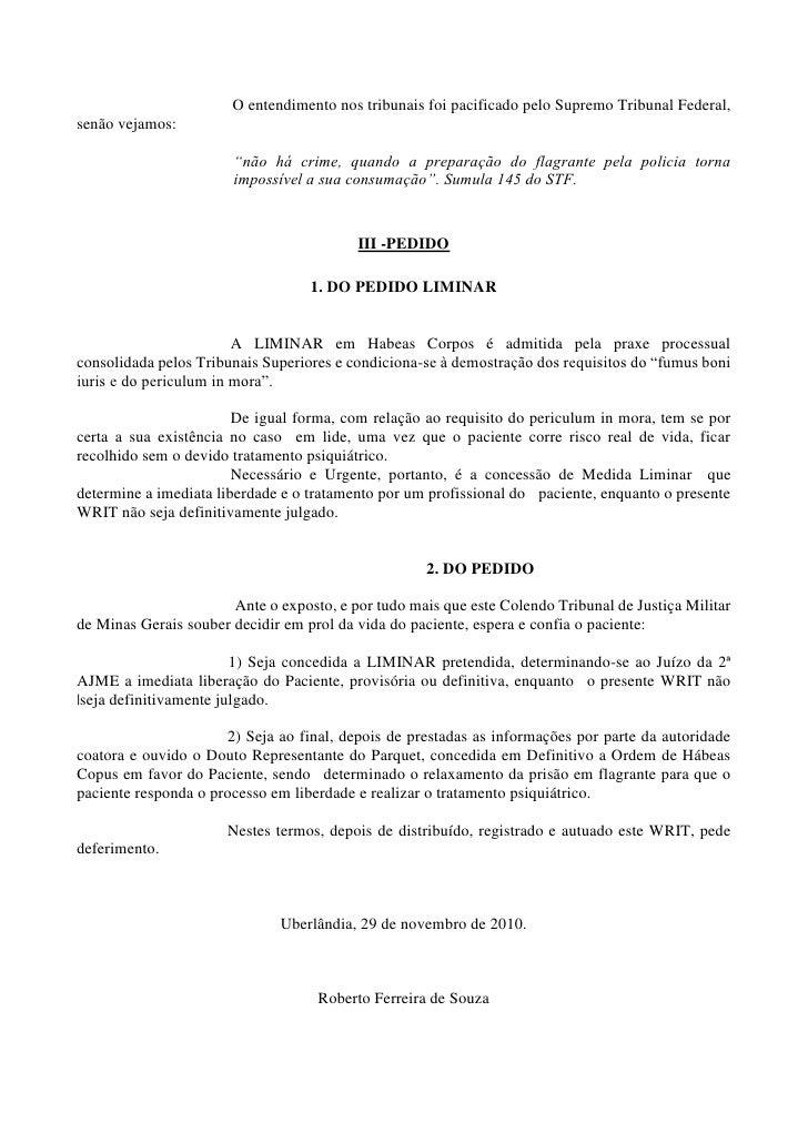 Peça De Habeas Corpus Com Pedido Dissertação November 2019