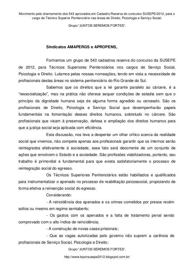 Movimento pelo chamamento dos 543 aprovados em Cadastro Reserva do concurso SUSEPE/2012, para o  cargo de Técnico Superior...