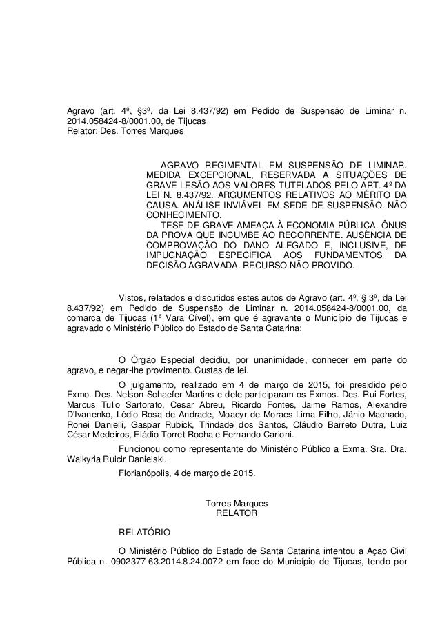 Agravo (art. 4º, §3º, da Lei 8.437/92) em Pedido de Suspensão de Liminar n. 2014.058424-8/0001.00, de Tijucas Relator: Des...