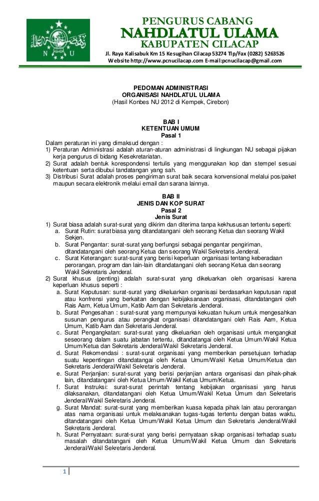 PENGURUS CABANG KABUPATEN CILACAP Jl. Raya Kalisabuk Km 15 Kesugihan Cilacap 53274 Tlp/Fax (0282) 5263526 Website http://w...