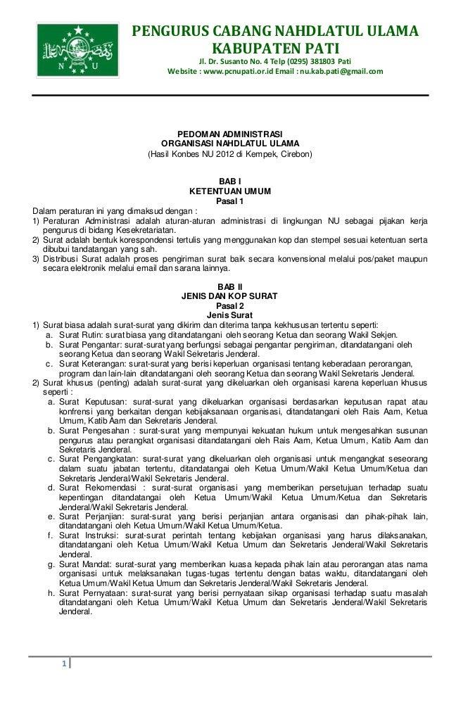PENGURUS CABANG NAHDLATUL ULAMA KABUPATEN PATI Jl. Dr. Susanto No. 4 Telp (0295) 381803 Pati Website : www.pcnupati.or.id ...