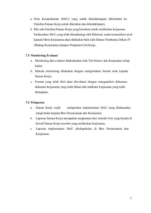 Pedoman Nota Kesepahaman Bidang Kerjasama Fkip Uho