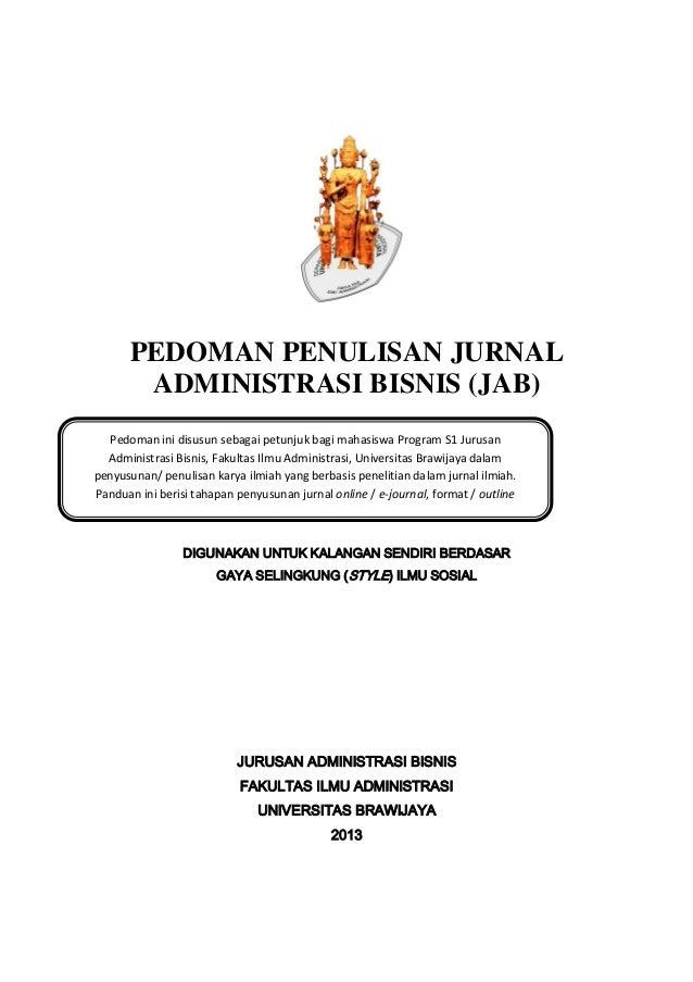 Pedoman Penulisan Jurnal Administrasi Bisnis 2013