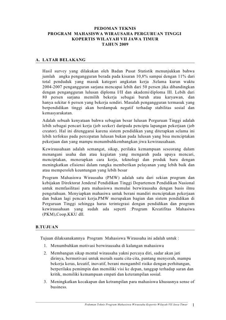 PEDOMAN TEKNIS     PROGRAM MAHASISWA WIRAUSAHA PERGURUAN TINGGI            KOPERTIS WILAYAH VII JAWA TIMUR                ...
