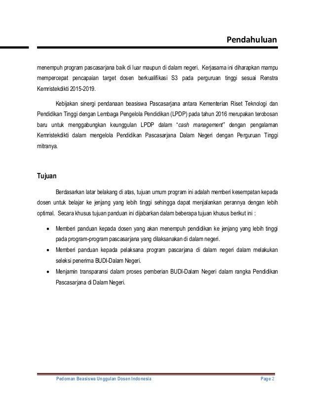 Pedoman Budi Dn 638 Cb Beasiswa Lpdp Tujuan Dalam Negeri