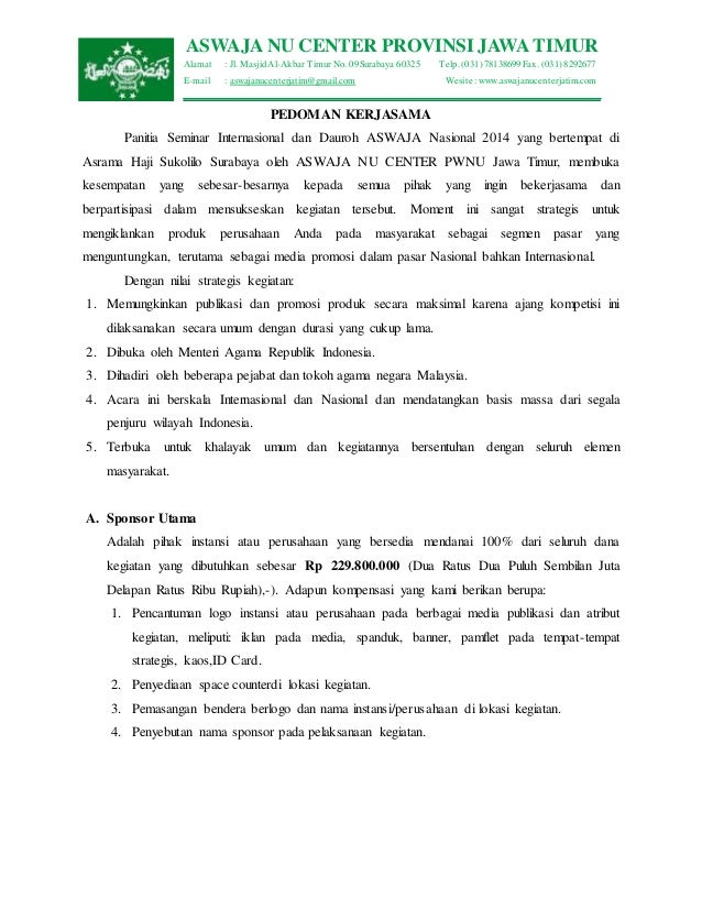 ASWAJA NU CENTER PROVINSI JAWA TIMUR  Alamat : Jl. Masjid Al-Akbar Timur No. 09 Surabaya 60325 Telp. (031) 78138699 Fax. (...