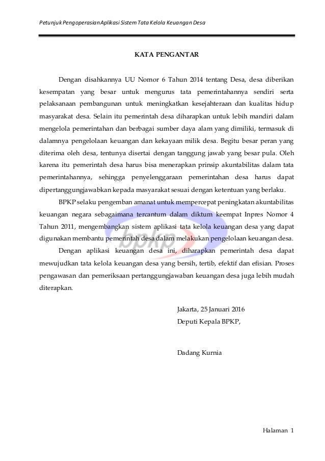 PetunjukPengoperasianAplikasiSistemTata Kelola Keuangan Desa Halaman 1 KATA PENGANTAR Dengan disahkannya UU Nomor 6 Tahun ...