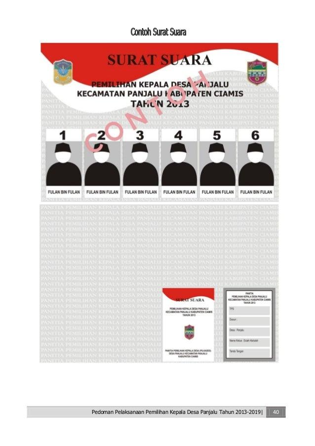 Pedoman Pelaksanaan Pemilihan Kepala Desa Panjalu Kec