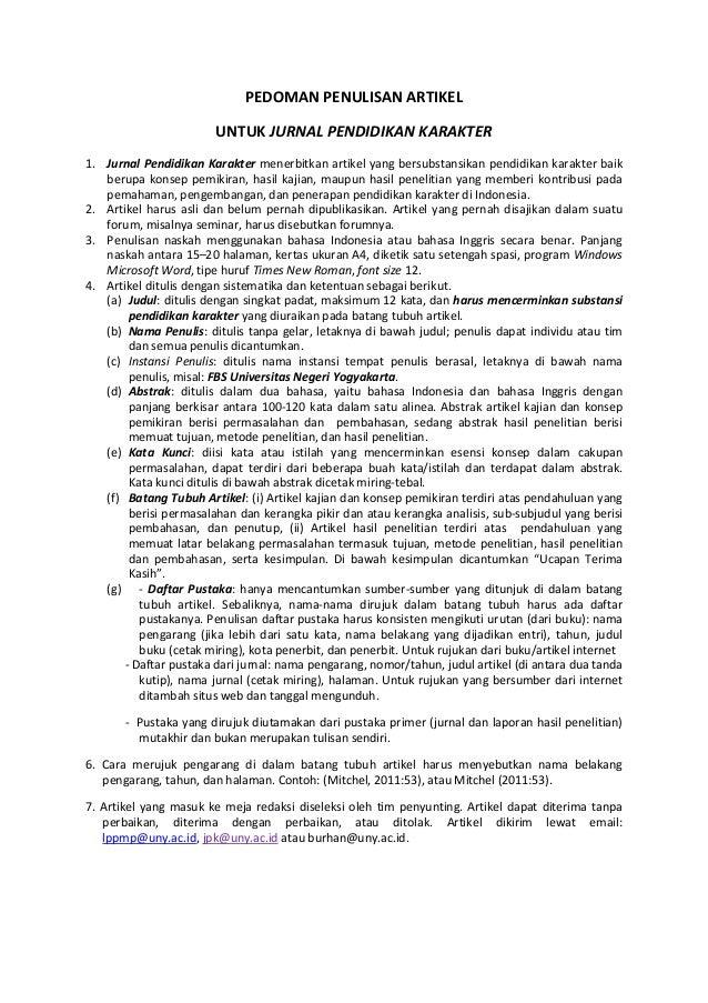 Pedoman Penulisan Artikel Pendidikan Karakter1
