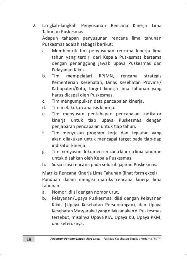 20 Pedoman Pendampingan Akreditasi | Fasilitas Kesehatan Tingkat Pertama (FKTP) D. Perencanaan Tingkat Puskesmas (PTP) Tah...