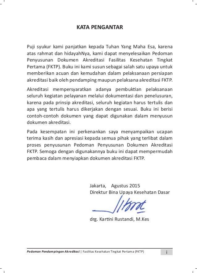 iiiPedoman Pendampingan Akreditasi | Fasilitas Kesehatan Tingkat Pertama (FKTP) DAFTAR ISI Halaman KATA PENGANTAR i DAFTAR...