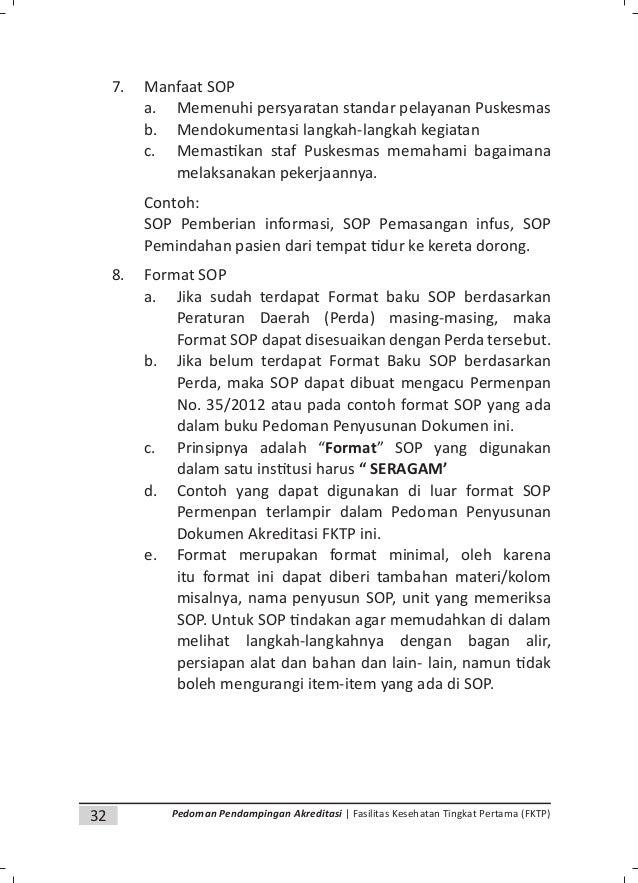 34 Pedoman Pendampingan Akreditasi | Fasilitas Kesehatan Tingkat Pertama (FKTP) • Penjelasan: Penulisan SOP yang harus tet...