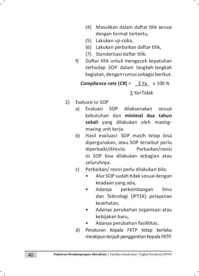 42 Pedoman Pendampingan Akreditasi | Fasilitas Kesehatan Tingkat Pertama (FKTP) dokumen antar unit, (3) Melakukan cek ulan...