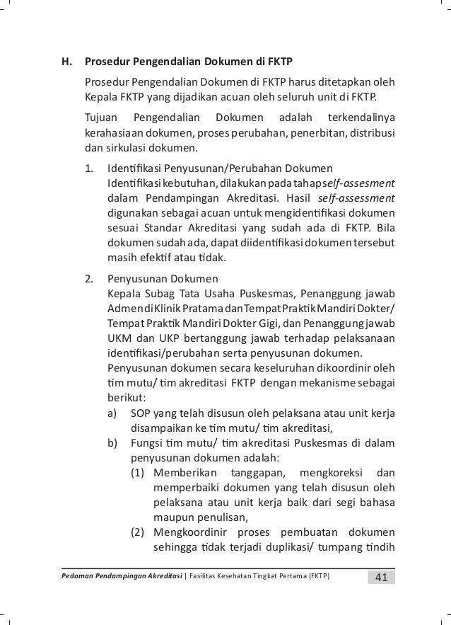 43Pedoman Pendampingan Akreditasi | Fasilitas Kesehatan Tingkat Pertama (FKTP) d. Mendistribusikan dokumen yang sudah dibe...