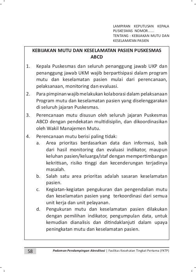 61Pedoman Pendampingan Akreditasi | Fasilitas Kesehatan Tingkat Pertama (FKTP) Lampiran 3. Contoh Template Pedoman Mutu PE...