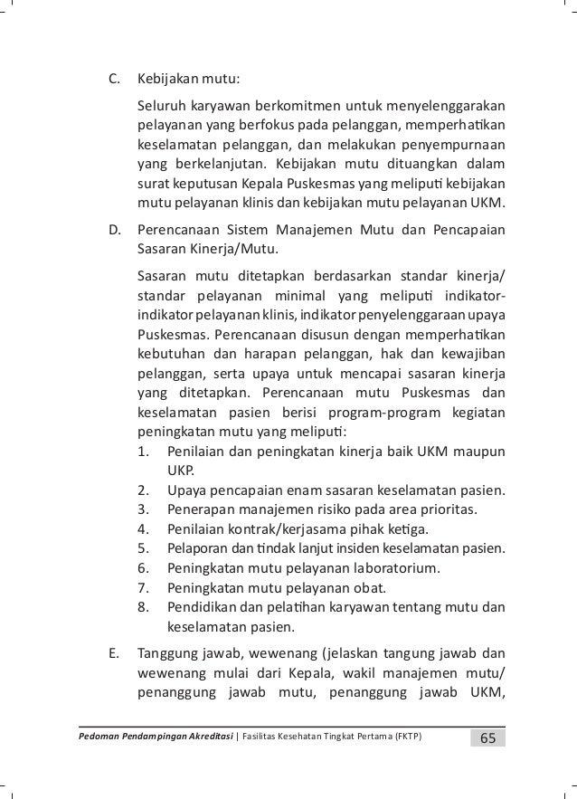 68 Pedoman Pendampingan Akreditasi | Fasilitas Kesehatan Tingkat Pertama (FKTP) a. Penetapan persyaratan sasaran b. Tinjau...