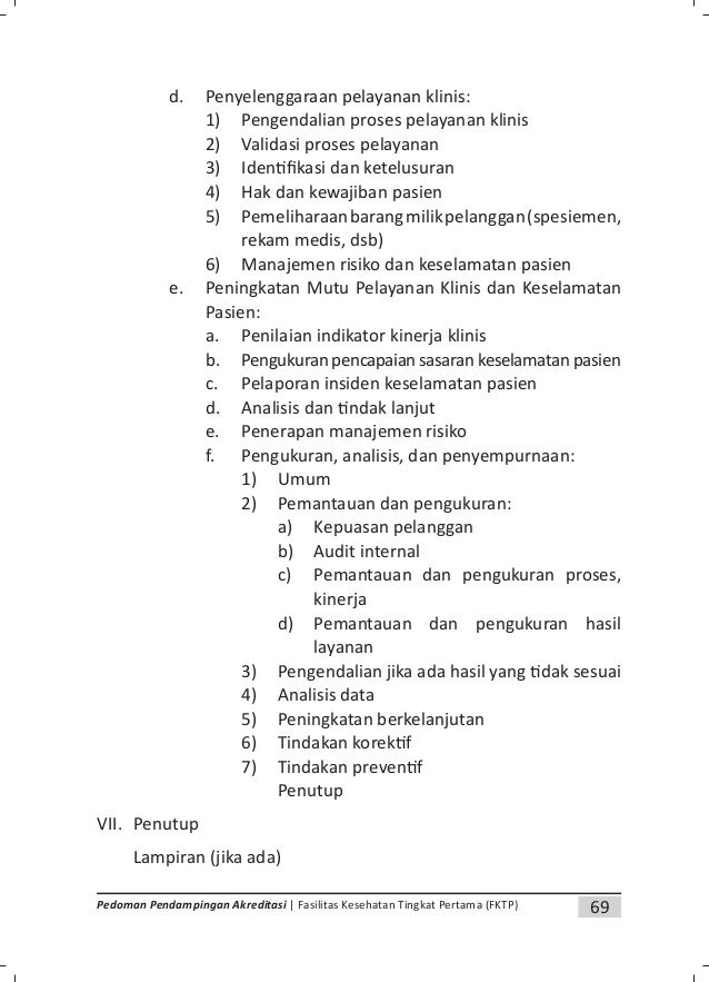 72 Pedoman Pendampingan Akreditasi | Fasilitas Kesehatan Tingkat Pertama (FKTP) 9. Unit terkait 1. Klinik Umum 2. Klinik G...