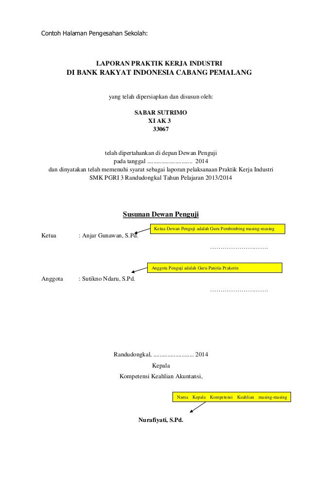 Pedoman Laporan Prakerin Smk Pgri 3 Randudongkal