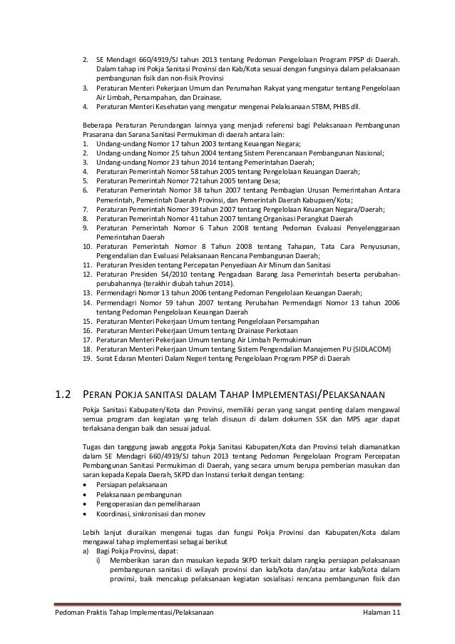 Pedoman Praktis Tahap Implementasi/Pelaksanaan Halaman 11 2. SE Mendagri 660/4919/SJ tahun 2013 tentang Pedoman Pengelolaa...