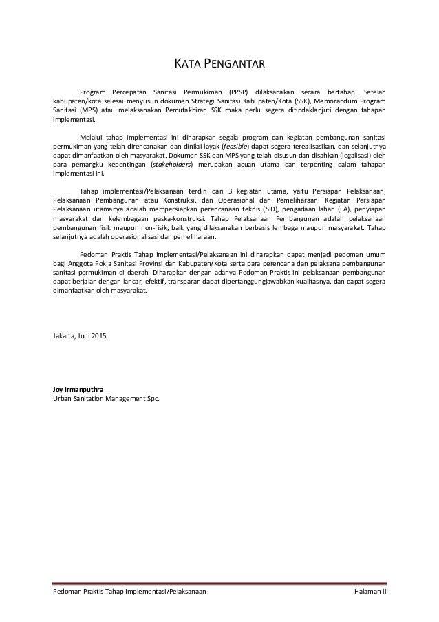 Pedoman Praktis Tahap Implementasi/Pelaksanaan Halaman ii KATA PENGANTAR Program Percepatan Sanitasi Permukiman (PPSP) dil...