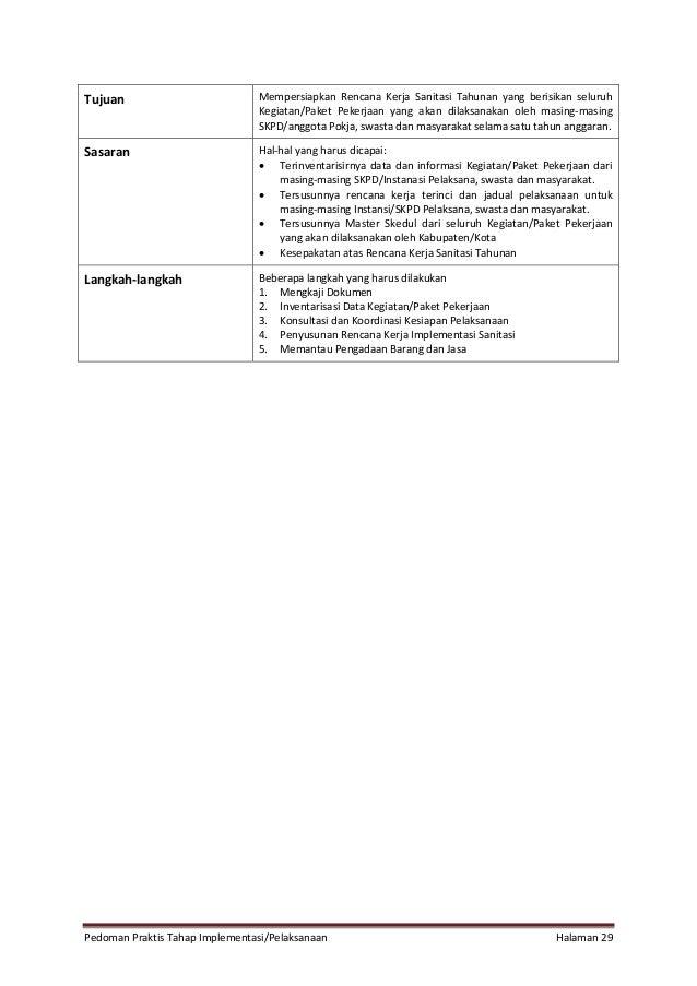 Pedoman Praktis Tahap Implementasi/Pelaksanaan Halaman 29 Tujuan Mempersiapkan Rencana Kerja Sanitasi Tahunan yang berisik...