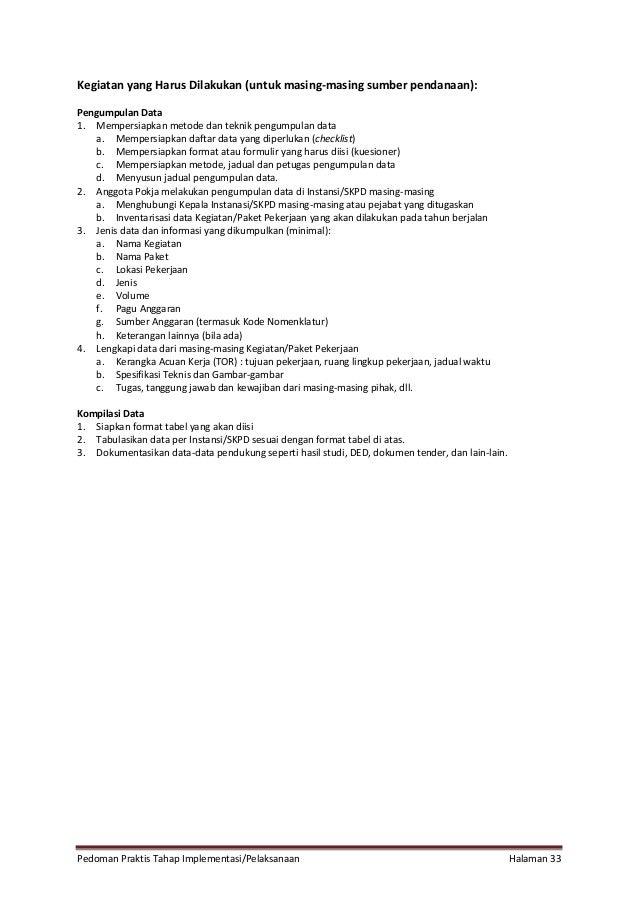 Pedoman Praktis Tahap Implementasi/Pelaksanaan Halaman 33 Kegiatan yang Harus Dilakukan (untuk masing-masing sumber pendan...