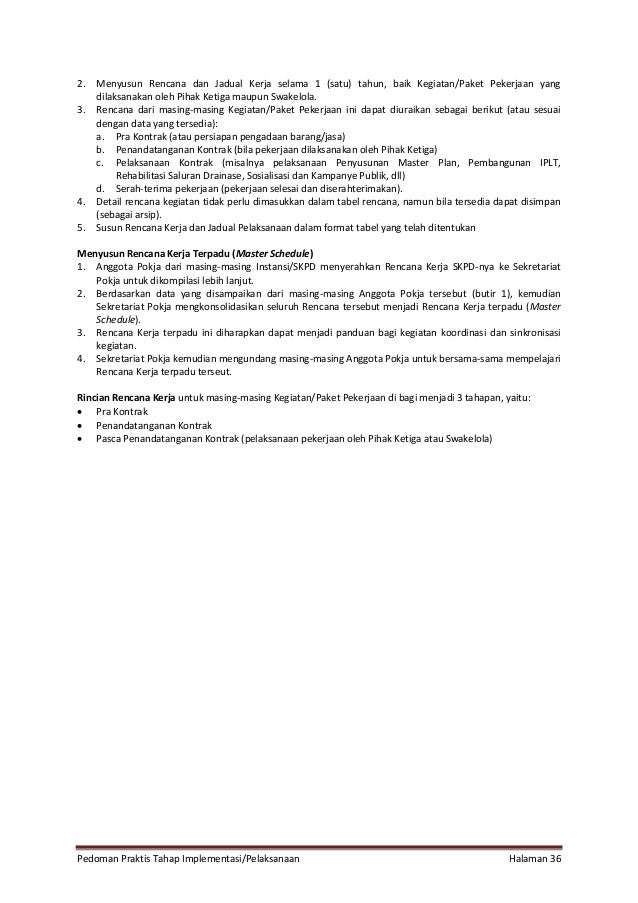 Pedoman Praktis Tahap Implementasi/Pelaksanaan Halaman 36 2. Menyusun Rencana dan Jadual Kerja selama 1 (satu) tahun, baik...