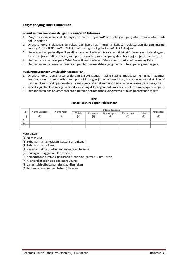 Pedoman Praktis Tahap Implementasi/Pelaksanaan Halaman 39 Kegiatan yang Harus Dilakukan Konsultasi dan Koordinasi dengan I...