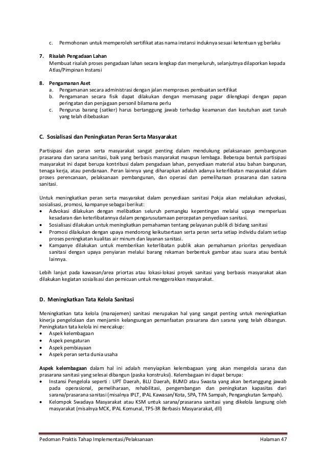 Pedoman Praktis Tahap Implementasi/Pelaksanaan Halaman 47 c. Permohonan untuk memperoleh sertifikat atas nama instansi ind...