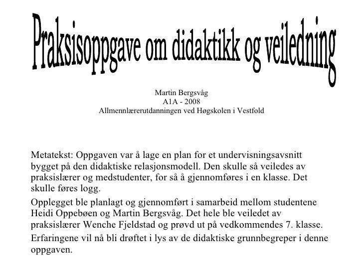 Martin Bergsvåg A1A - 2008 Allmennlærerutdanningen ved Høgskolen i Vestfold Metatekst: Oppgaven var å lage en plan for et ...