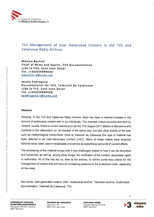 PEDREGOSA management of user generated content in the archive of TV3 …