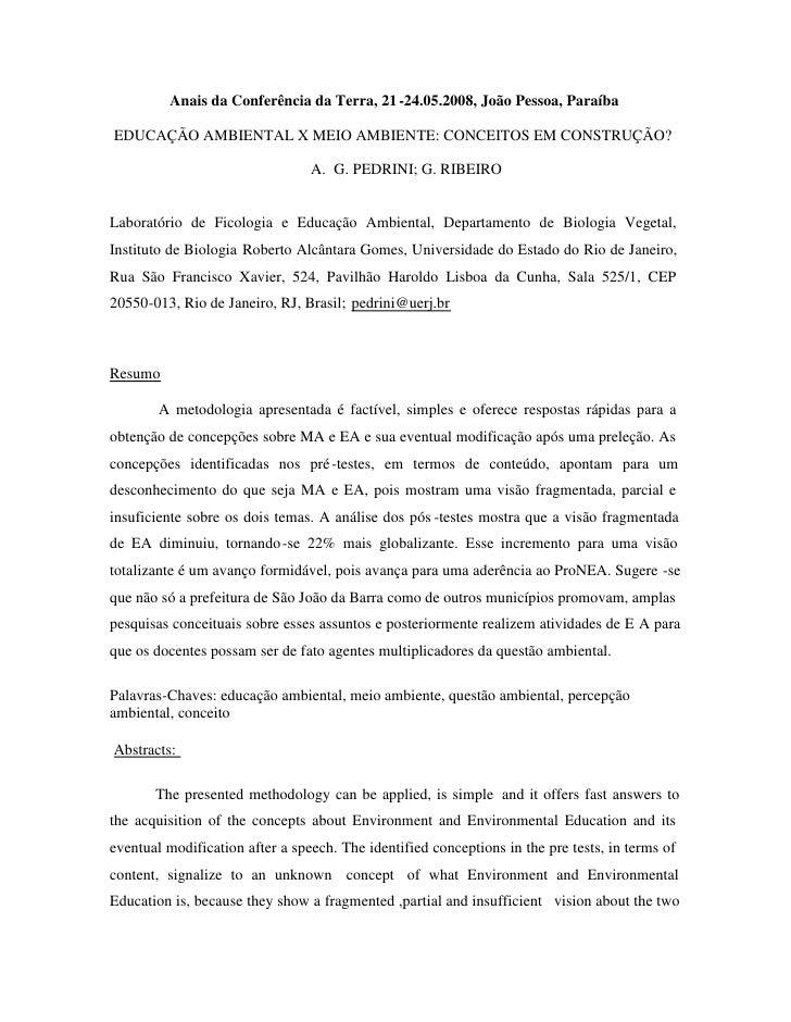 Anais da Conferência da Terra, 21 -24.05.2008, João Pessoa, Paraíba  EDUCAÇÃO AMBIENTAL X MEIO AMBIENTE: CONCEITOS EM CONS...