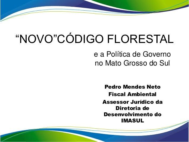 """""""NOVO""""CÓDIGO FLORESTAL          e a Política de Governo          no Mato Grosso do Sul            Pedro Mendes Neto       ..."""