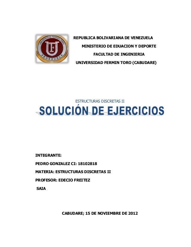 REPUBLICA BOLIVARIANA DE VENEZUELA                      MINISTERIO DE EDUACION Y DEPORTE                           FACULTA...