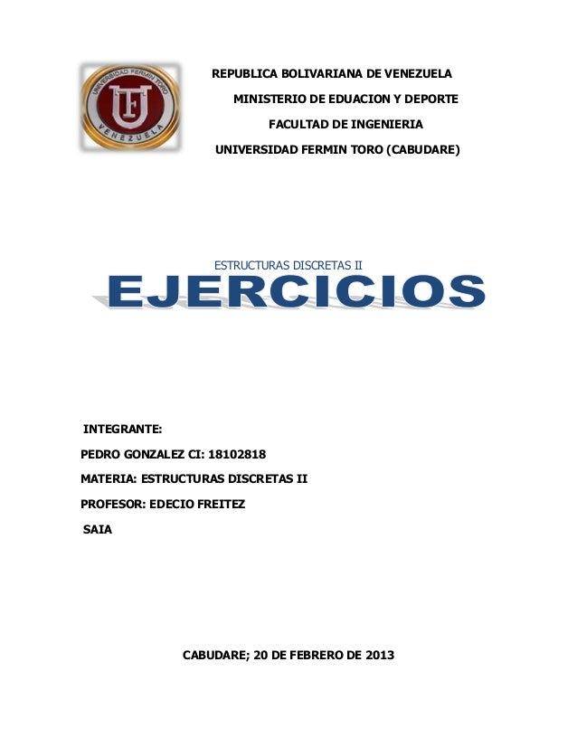 REPUBLICA BOLIVARIANA DE VENEZUELA                      MINISTERIO DE EDUACION Y DEPORTE                              FACU...