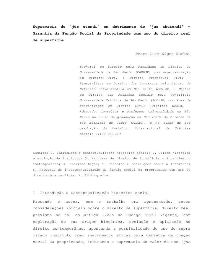 Pedro kurbhi   direito sbc - artigo - direito de superficie - 090505[1]